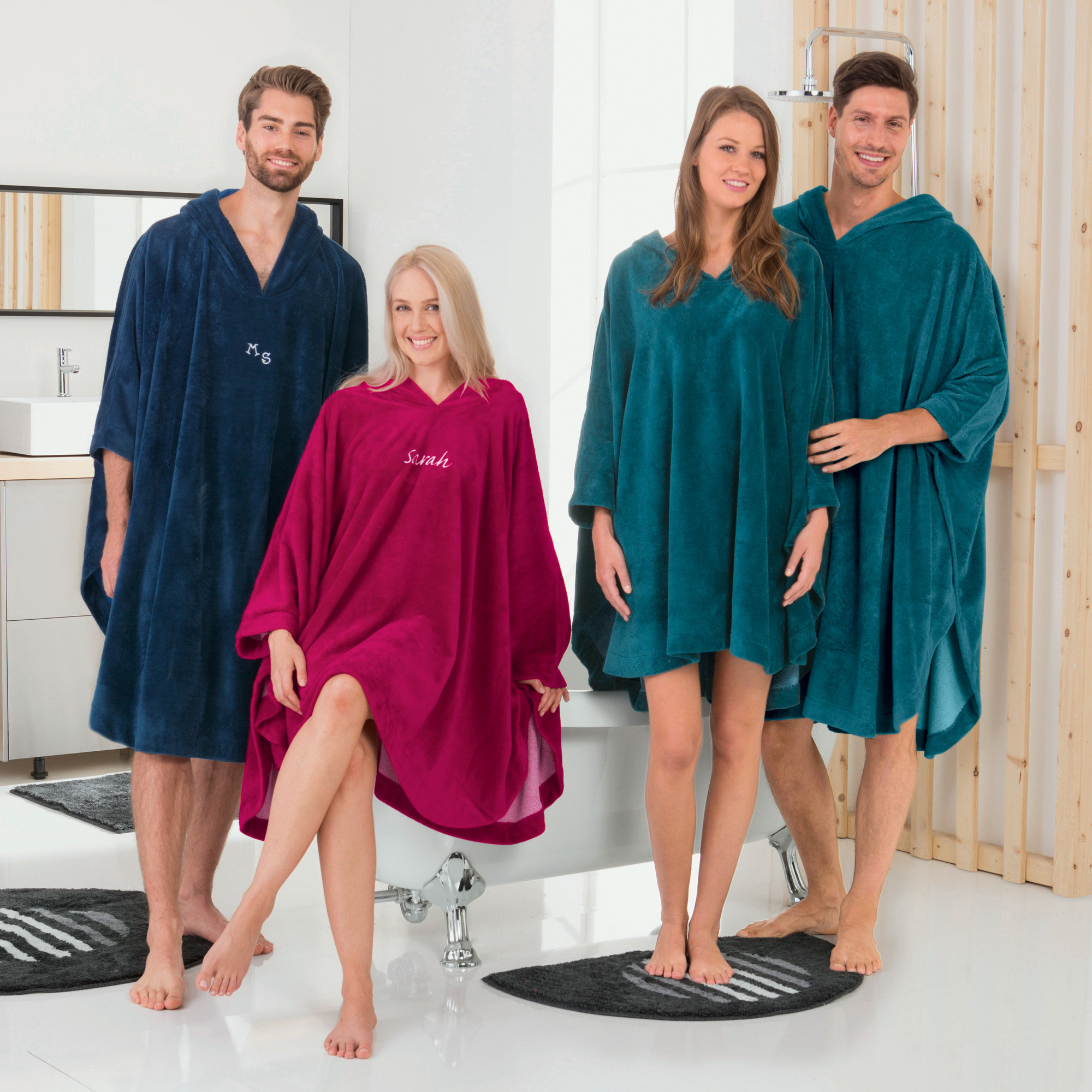 Erwin Müller Poncho lang mit Kapuze Velours-Frottier