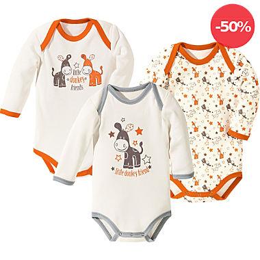 Erwin Müller Baby-Body langarm im 3er-Pack