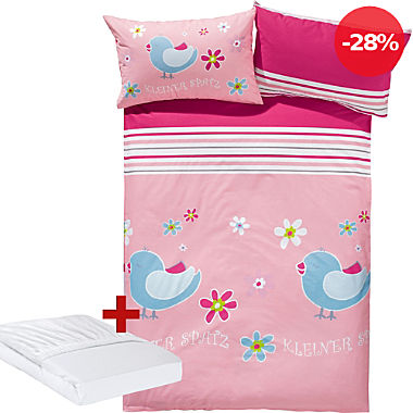 Kinder-Sparpaket 3-tlg.: Biber-Bettwäsche und Spannbettlaken