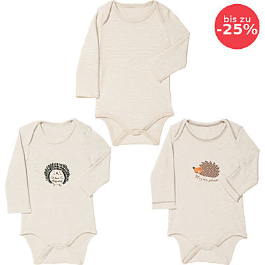 Erwin Müller Interlock-Jersey Baby-Body, Langarm im 3er-Pack