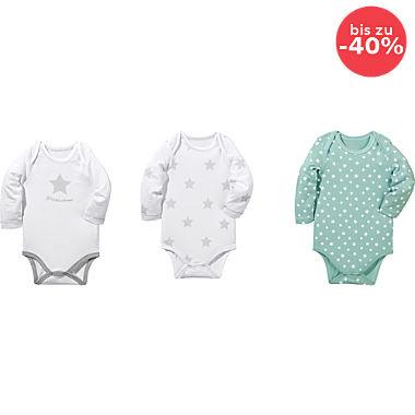 Erwin Müller Single-Jersey Baby-Body Langarm im 3er-Pack