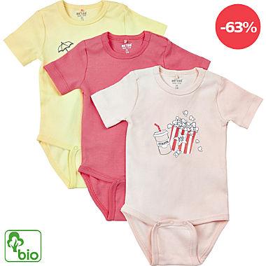 Me too Interlock-Jersey Bio Baby-Body kurzarm im 3er-Pack