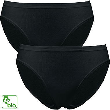 Pompadour Feinripp Bio Damen-Bikinislip im 2er-Pack