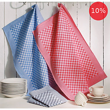 Pack of 6 two-ply tea towels